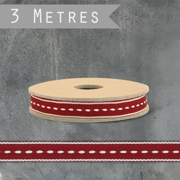 Corinne Lapierre Red Saddle Stitch Ribbon by East of India