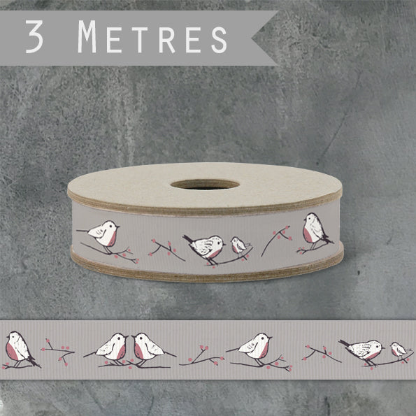 Corinne Lapierre Robins and Rosehips Ribbon - Grey by East of India