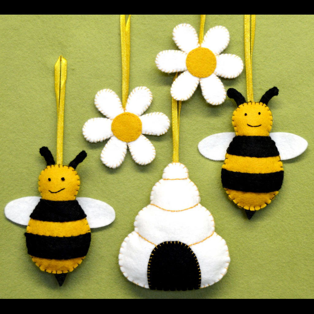 Felt Bees, hive & flowers Digital Pattern