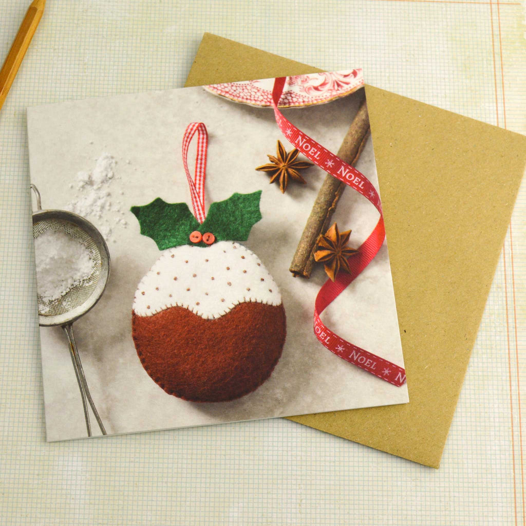 Corinne Lapierre Christmas Pudding Christmas Card with Envelope