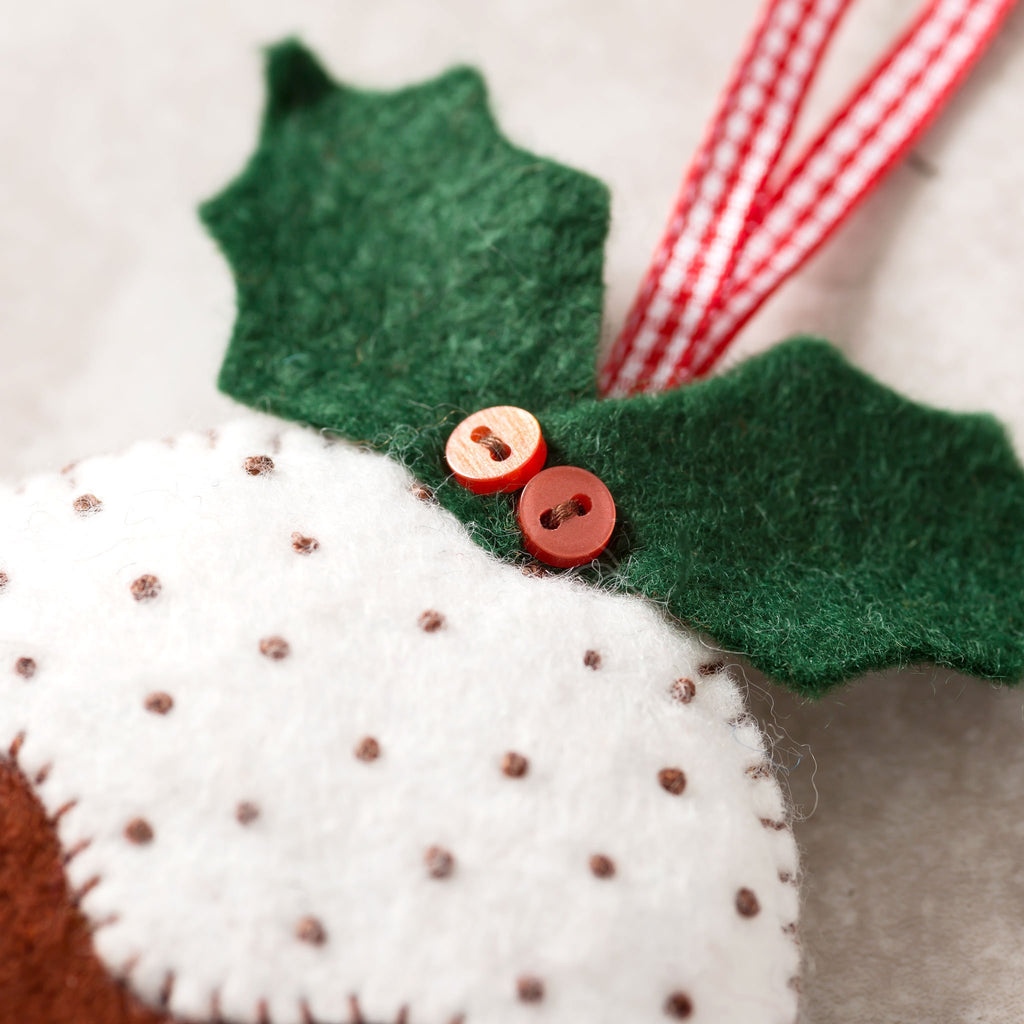 Corinne Lapierre Christmas Pudding Felt Craft Kit Holly Detail