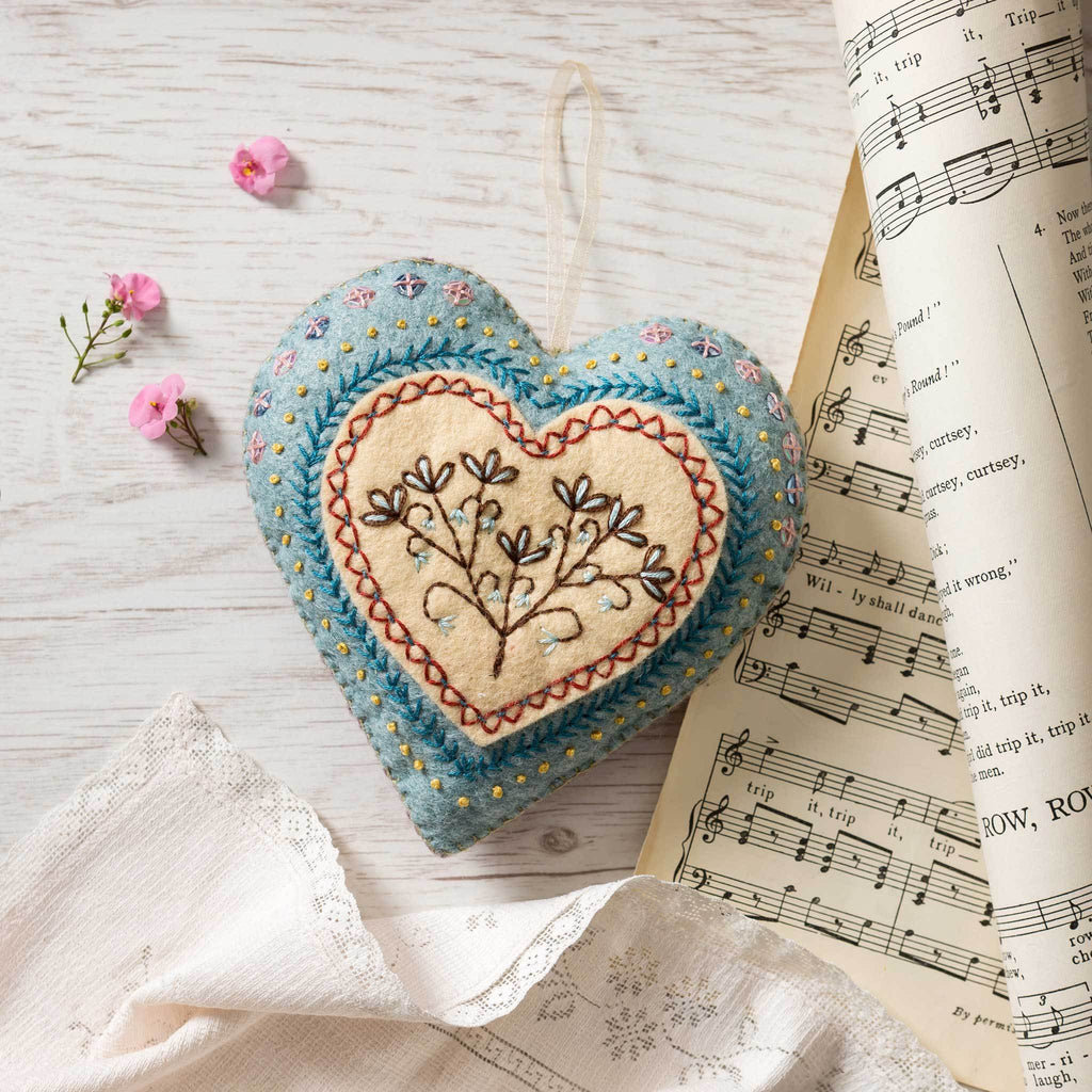 Corinne Lapierre Embroidered Heart Felt Craft Kit
