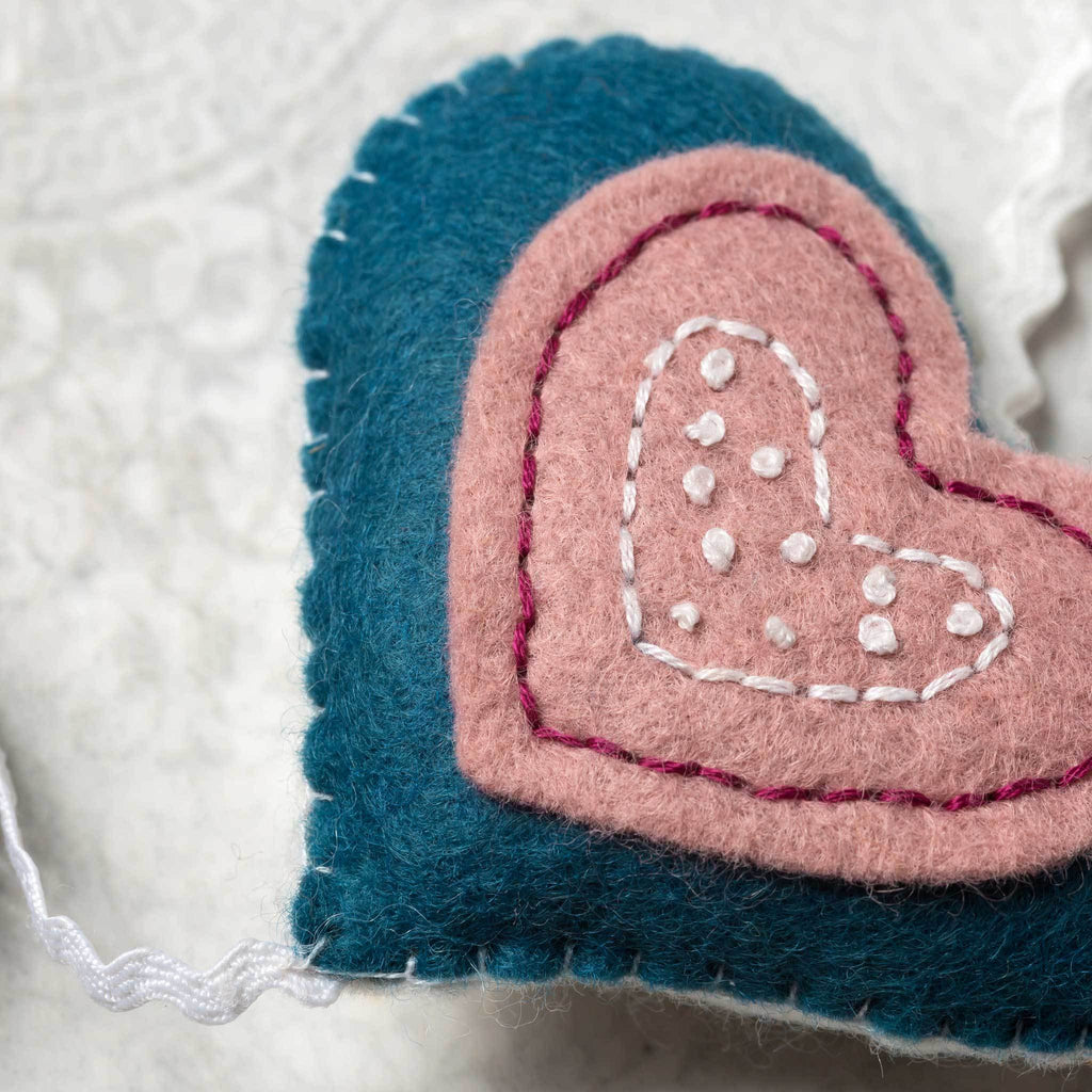 Corinne Lapierre Vintage Heart Garland Felt Craft Kit Detail
