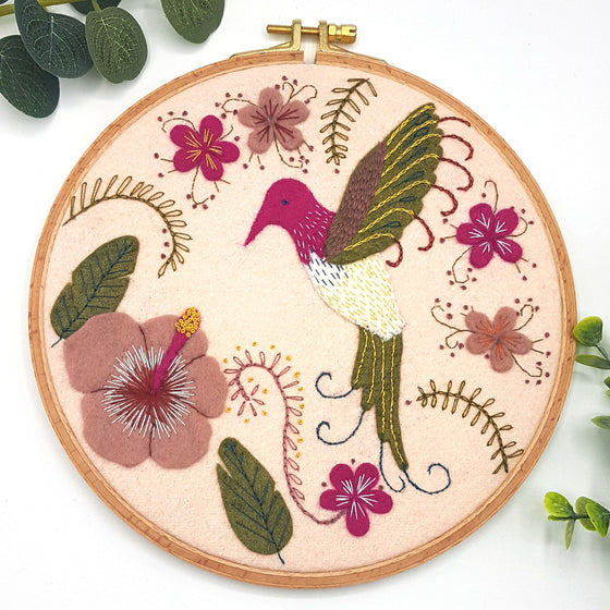 Felt Hummingbird Hoop Embroidery Craft kit by Corinne Lapierre
