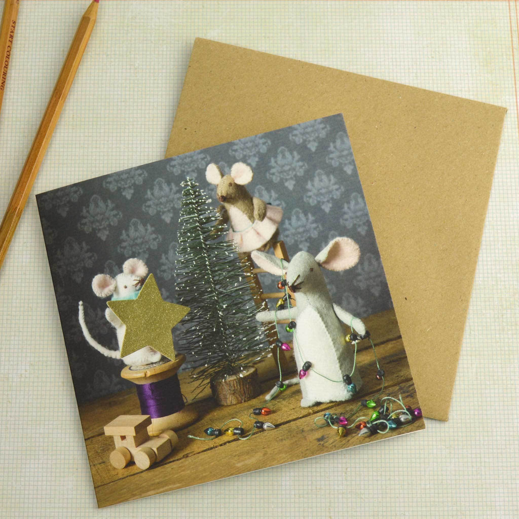 Mouse Family Christmas Card by Corinne Lapierre with envelope