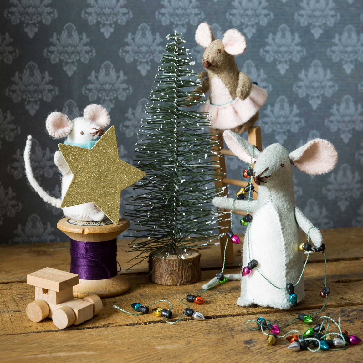 Mouse Family Christmas Card by Corinne Lapierre