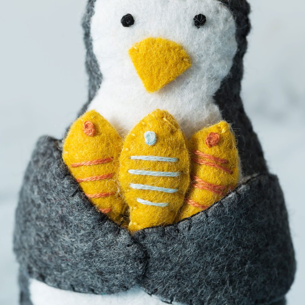 Corinne Lapierre Penguin with Fish Felt Craft Kit Detail