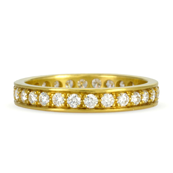 Caroline Ellen Gold Straight Edge Pave Diamond Ring