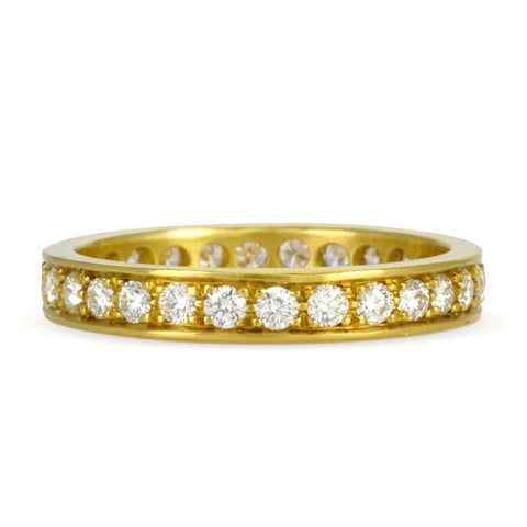 Gold Straight Edge Pave Diamond Ring