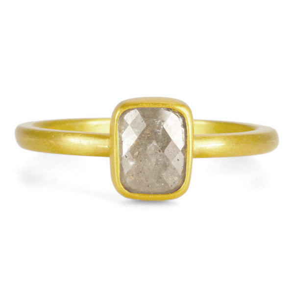 22K Gold Frosted Grey Diamond Ring