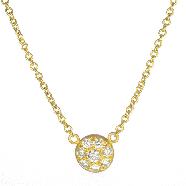 Gold and Pave Diamond Mini Disc Necklace