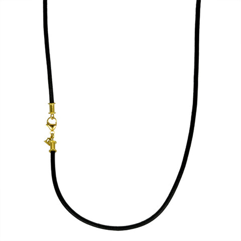 "Black Leather Cord Necklace with 18K Gold Clasp and ""Temple"" Charn"