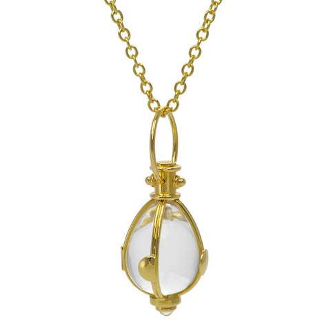 "18K Yellow Gold with Rock Crystal and Moonstone ""Lunar"" Pendant"