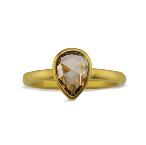 22K Gold Pear-Shaped Cognac Diamond Ring