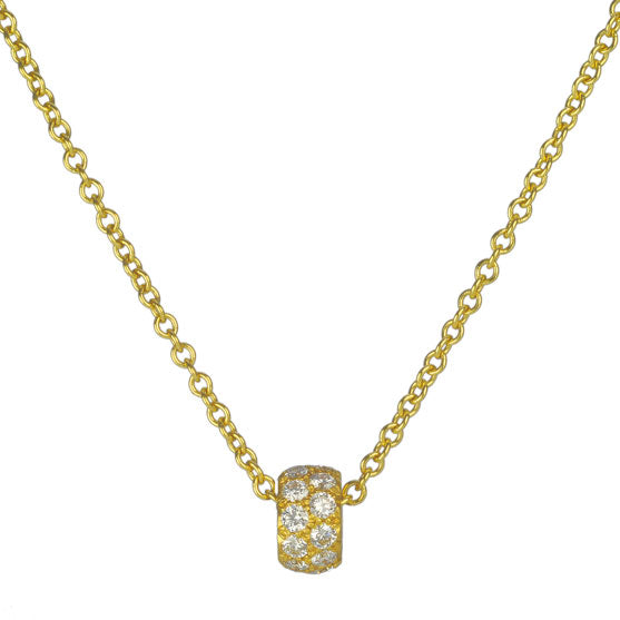 Gold and Double Row Pave Diamond Rondelle Necklace