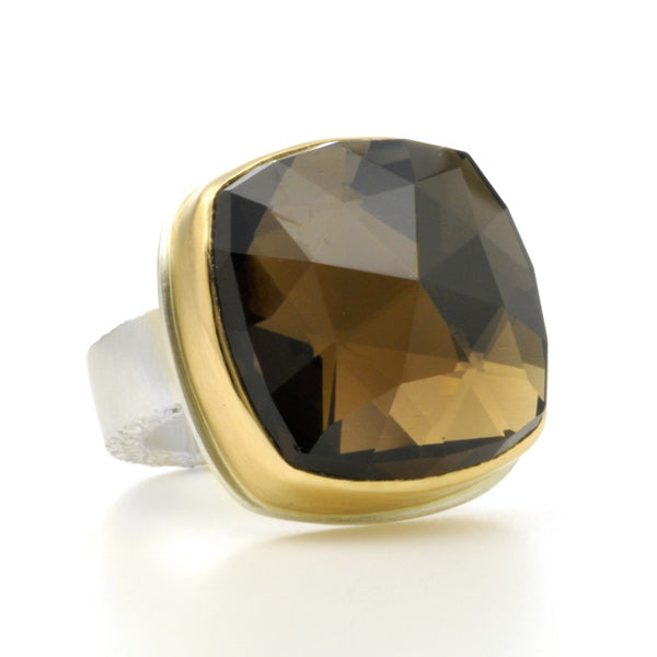 Square Rose Cut Smoky Quartz Ring