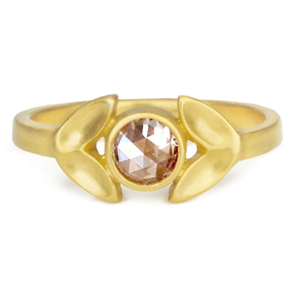 "Gold and Rose-Cut Champagne Diamond ""Laurel"" Ring"