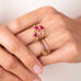 Hammered Gold and Rhodium Ruby Ring