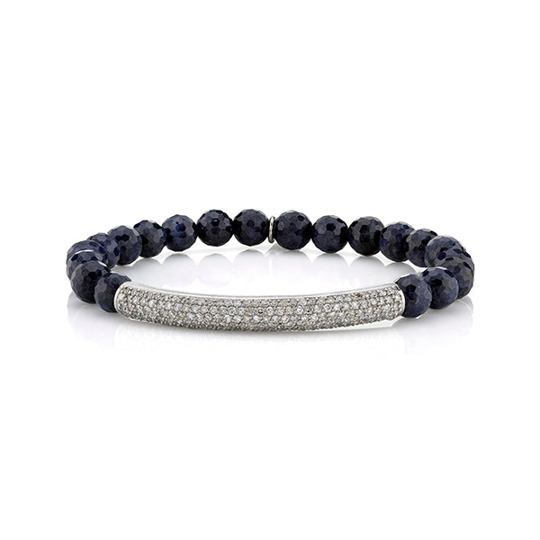 "Blue Sapphire Beaded Bracelet with Pave Diamond ""Tube"" Bead"