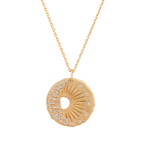 "Celine Daoust Gold and Diamond ""Sun and Moon"" Necklace"