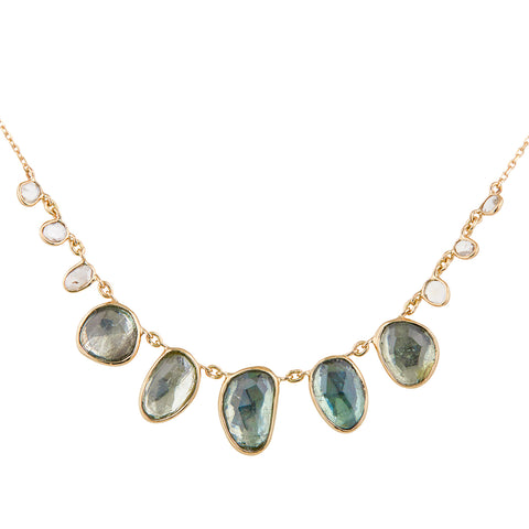 Pale Green Tourmaline Multi-Drop Necklace
