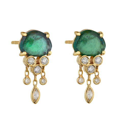"Green Tourmaline and Diamond ""Jellyfish"" Earrings"