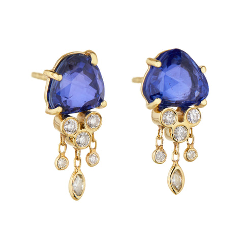 "Blue Sapphire and Diamond ""Jellyfish"" Earrings"