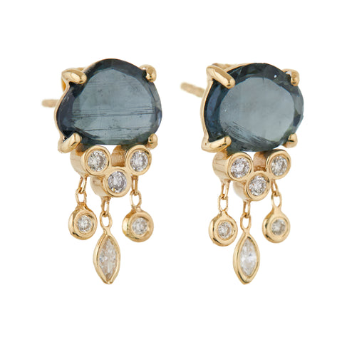 "Celine Daoust Gold Prong-Set Blue Tourmaline ""Jellyfish"" Earrings with Diamonds"