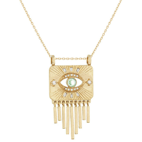 "Green Tourmaline and Diamond ""Open Eye"" Fringe Necklace"