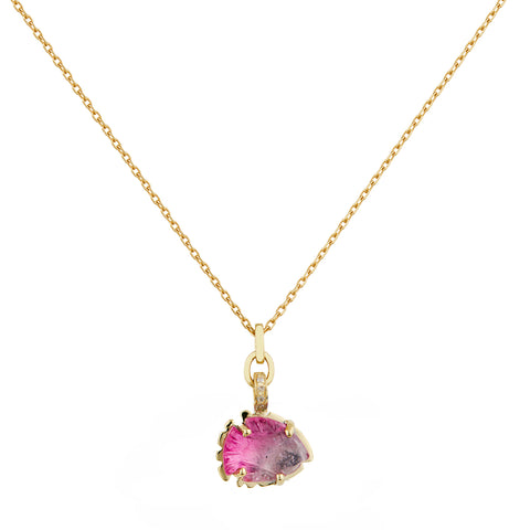 "Gold Carved Bi-Color Pink Tourmaline ""Fish"" Necklace"