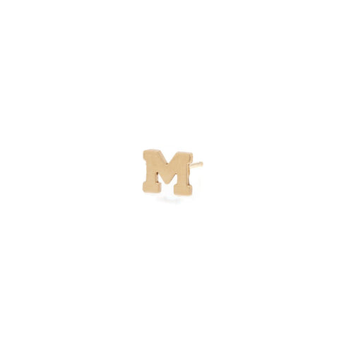"Zoe Chicco Gold Single Mini ""M"" Stud Earring"