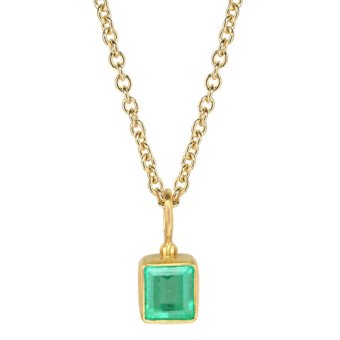 Caroline Ellen 20 & 22K Gold Bezel-Set Rectangular Emerald Pendant Necklace