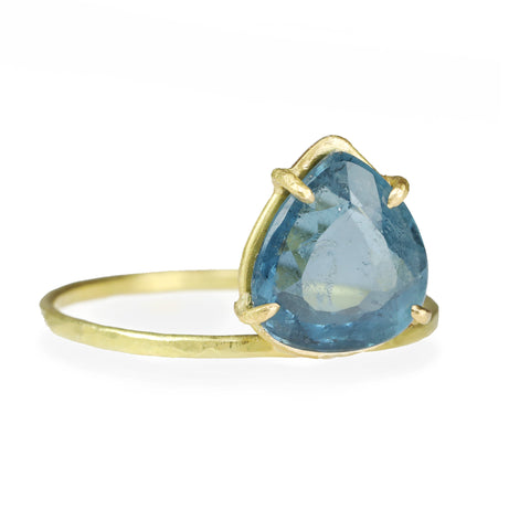 "Gold Prong-Set Pear Shaped Blue Tourmaline ""Mini Gem"" Ring"
