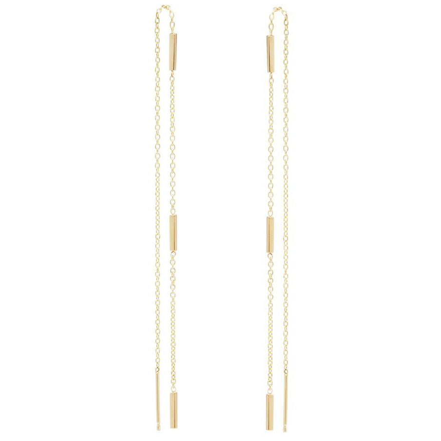 Zoe Chicco Gold Three Bar Long Threader Earrings