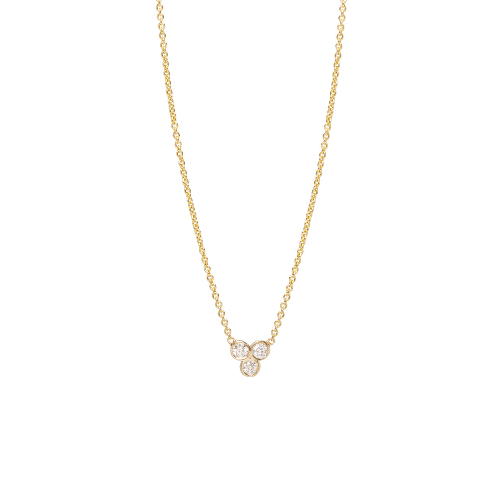Zoe Chicco Gold Bezel-Set White Diamond Trio Necklace