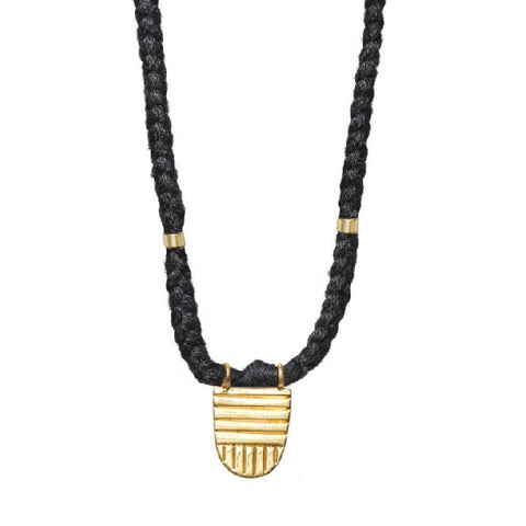 "Gold Vermeil ""Buddhist Flag"" Necklace on Black Cotton Cord"