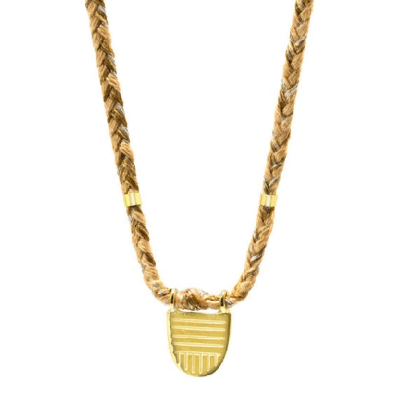 "Gold Vermeil ""Buddhist Flag"" Necklace on Caramel Cotton Cord"