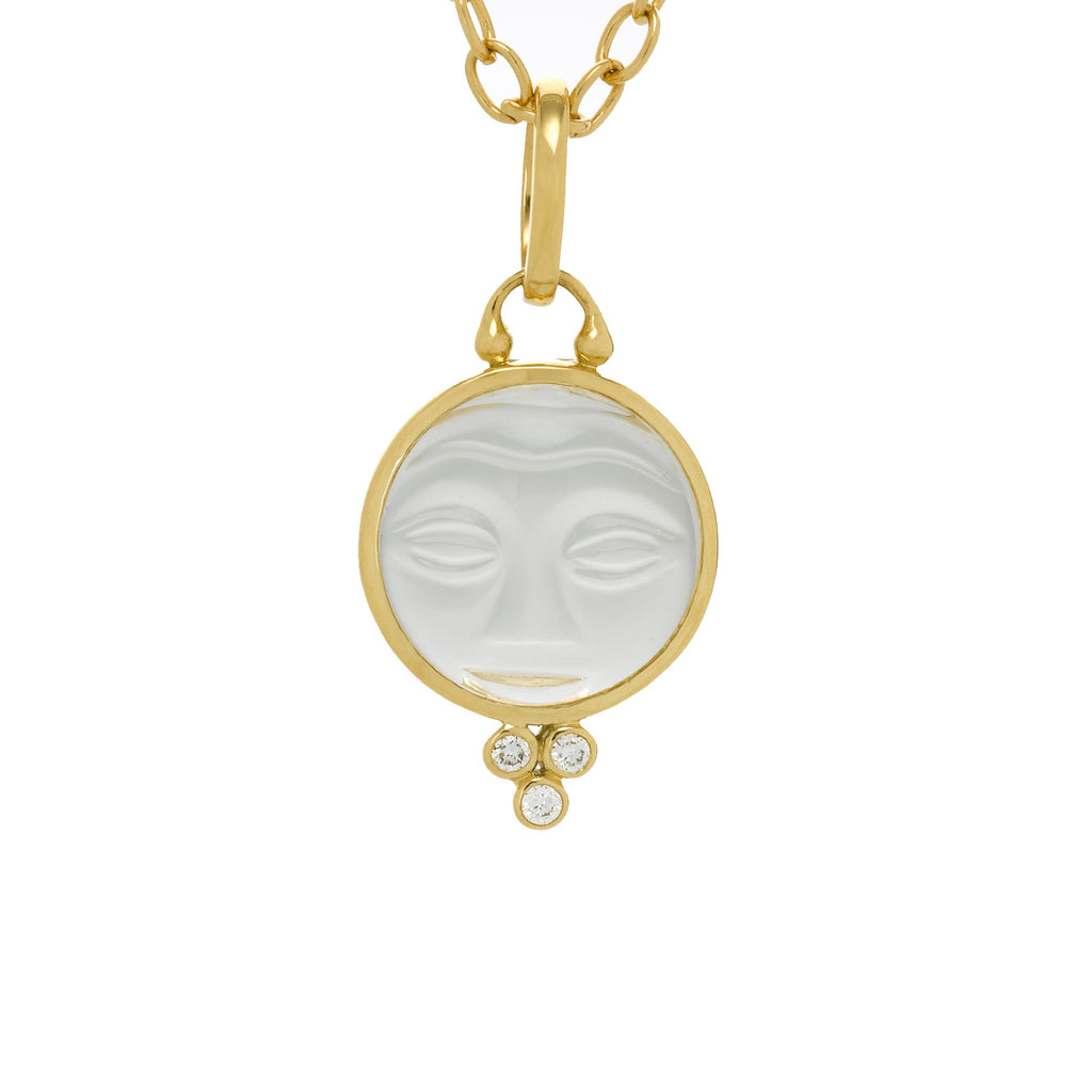 "Gold and Quartz Small ""Moonface"" Pendant with Diamonds"