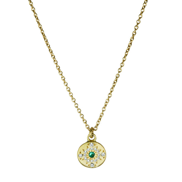 "Pave Diamond and Emerald ""Shimmer"" Necklace"