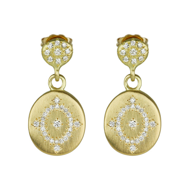 "Adel Chefridi Gold and Diamond ""Charm"" Earrings with ""Daydream"" Drops"