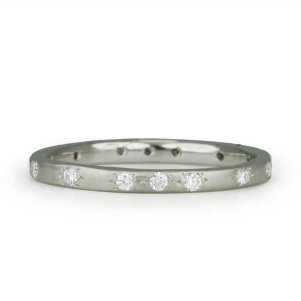 Platinum Thin Band with Diamonds