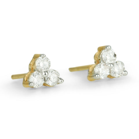 "Gold and Diamond ""Cluster"" Earrings"