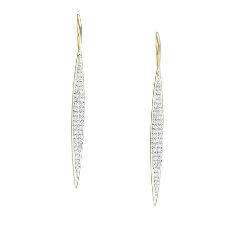 Adina Reyter Large Gold and Pavé Diamond Marquise Drop Earrings