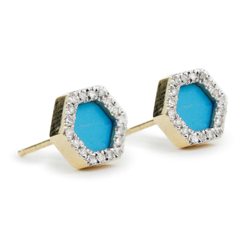 Adina Reyter Gold and Turquoise Hexagon Posts with Diamonds