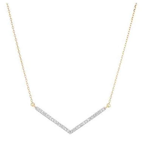 "Adina Reyter Yellow Gold and Pave Diamond Large ""V"" Necklace"