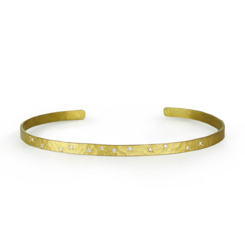 18K Yellow Gold Cuff Bracelet with 11 Scattered Diamonds