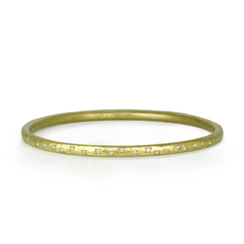 Annie Fensterstock Gold Hammered Round Bangle with Pave Diamonds