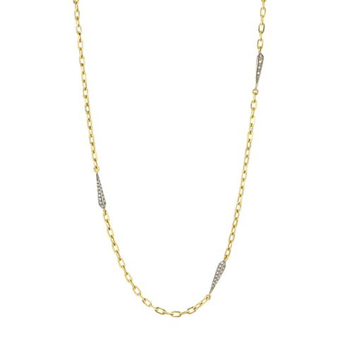 "22K Yellow Gold and 18K White Gold ""Thorn"" Chain with Diamonds"