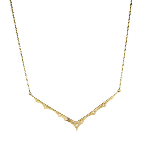 "Annie Fensterstock Gold and Diamond ""V"" Necklace"