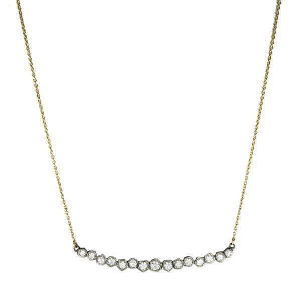 Mixed Metal Diamond Bar Necklace